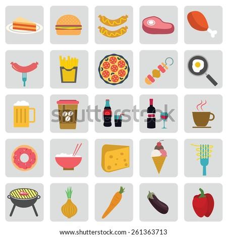 Big vector set of food various delicious dishes. - stock vector