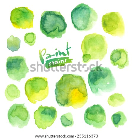 Big vector set of green watercolor stains - stock vector