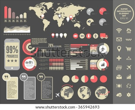 Big Vector set of infographics elements for your documents and reports. Conceptual statistic communication. Logistics flat global transportation concept. Infographic and blue map point set. Icons set - stock vector