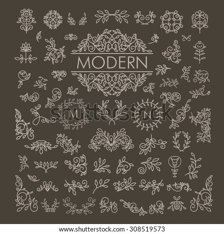 Big Vector set of line floral design elements for logos, frames and borders in modern style. Good for wedding invitations, page decoration e.t.c. - stock vector