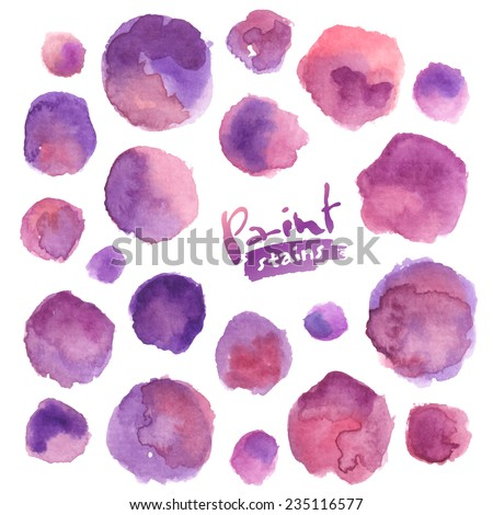 Big vector set of purple watercolor stains - stock vector