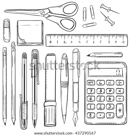 Big Vector Set of Sketch Stationery Items. Eraser, Stickers, Scissors, Ruler, Paper Clips, Drawing Pins,Pencils, Pens, Marker, Calculator. School Supplies. Stationery Mock Up. - stock vector