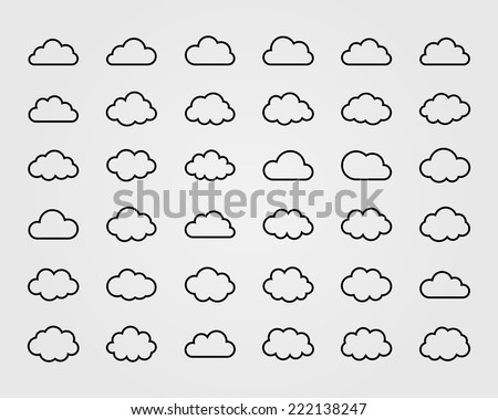 Big vector set of thirty-six cloud shapes, cloud icons for web and app, for cloud computing and so on - stock vector