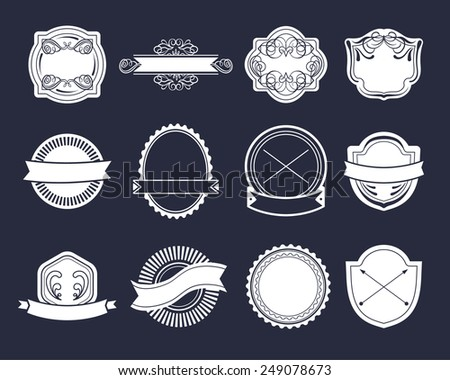 Big vector set of vintage labels, hipster logo elements, ribbons, logotype template - stock vector