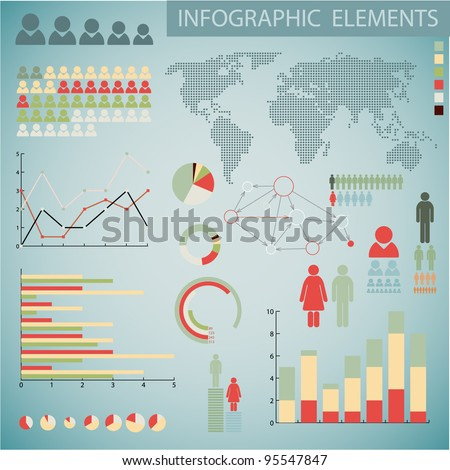 Big Vintage Vector set of Infographic elements for your documents and reports - stock vector