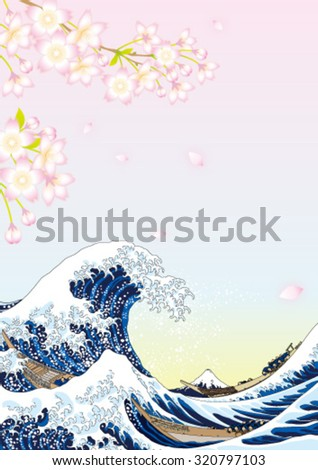 big wave and cherry blossoms - stock vector