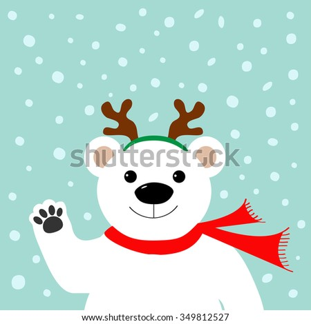Big white polar bear in deer horn and scarf, waving hand paw.  Merry Christmas Greeting Card. Blue background with snow. Flat design Vector illustration - stock vector