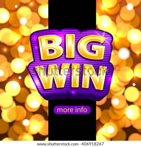 Big Win background for online casino, poker, roulette, slot machines, card games. Big Win banner. Vector illustrator. - stock vector