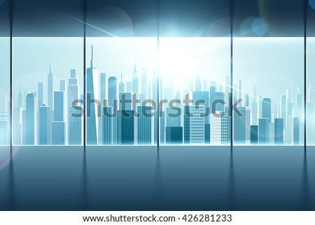 Big window with views of city - stock vector