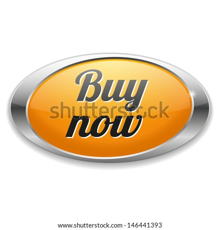Big yellow oval buy now button - stock vector