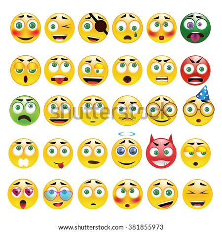 Big yellow round  emoticons vector set. 30 different emoji with different emotions. Cartoon characters.  - stock vector