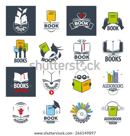 biggest collection of vector logos books - stock vector