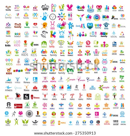 biggest collection of vector logos people  - stock vector