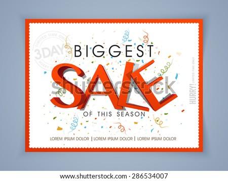 Biggest Sale poster, banner or flyer design for limited time. - stock vector