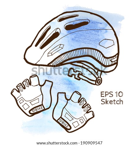 Bike accessories sketch modern simple light template on blue watercolor background - stock vector