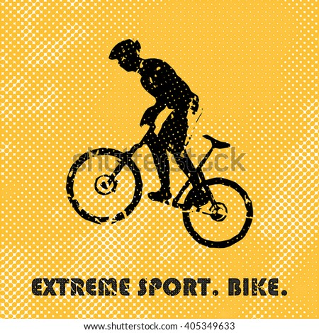 Bike and bikers man illustration. Creative, luxury gradient color style image. Print label, banner, icon, book, cover, card, website, web, greeting, invitation. Street art scratch design - stock vector