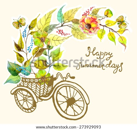 Bike and watercolor flowers, tricycle, retro card, Vector - stock vector