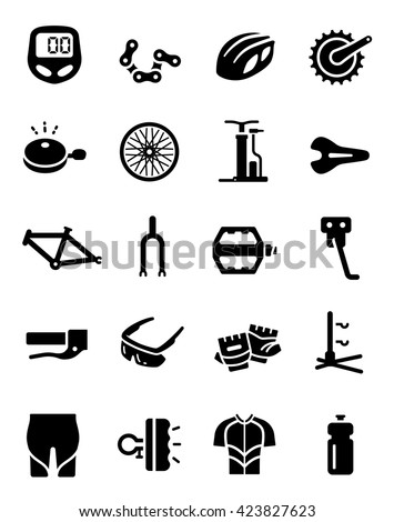 Bike Cycling Part Equipment Clothes Vector Icon - stock vector