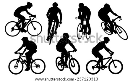 bike silhouettes on the white background - stock vector