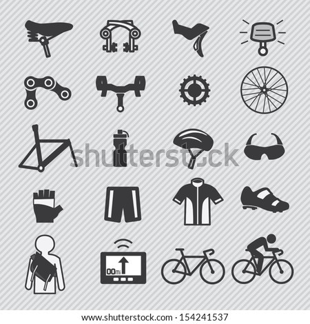 Bike tools and equipment part and accessories set vector icons - stock vector