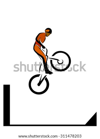 Bike trial rider jump from obstacle, extreme sport, vector illustration - stock vector