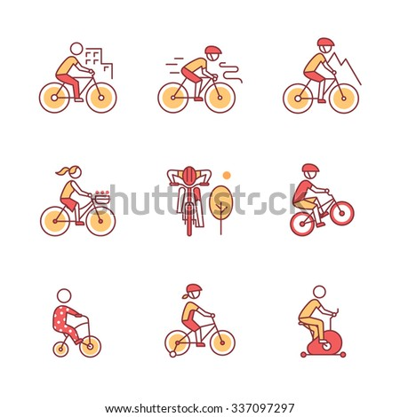 Bike types and cycling sign set. Man, woman, kids. Thin line art icons. Flat style illustrations isolated on white. - stock vector