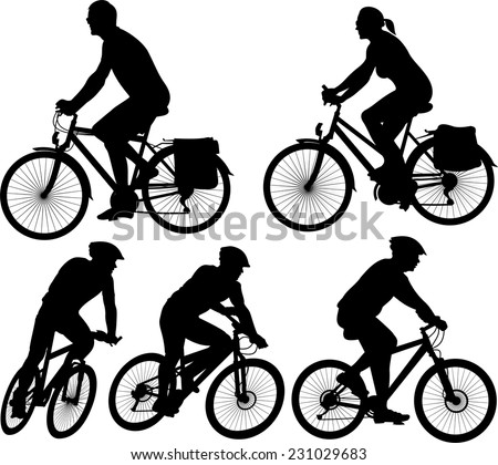 bike - vector silhouette and icon - stock vector