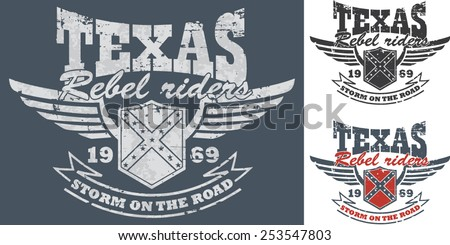 Biker's artworks 'Texas-rebel riders' for t- shirt and poster. Winged shield with confederate flag. - stock vector