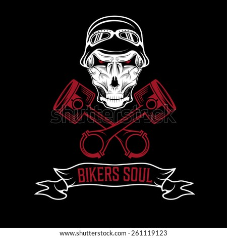 biker theme label with pistons and skulls  - stock vector
