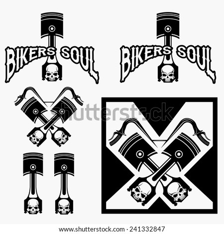 biker theme labels with pistons and skulls - stock vector