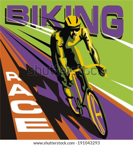 biking illustration - stock vector
