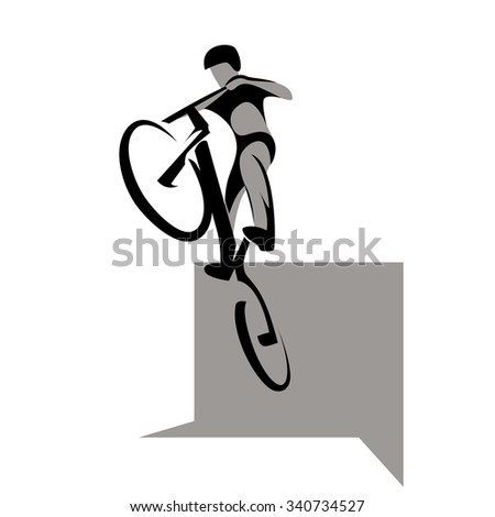 Bikycle trial rider jumps from obstacle, extreme sport, vector illustration - stock vector