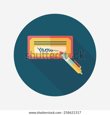bill check flat icon with long shadow,eps10 - stock vector