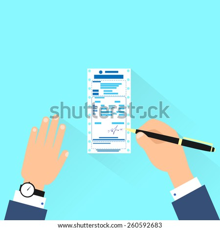 bill sign up, businessman hands with pen payment flat design vector illustration - stock vector