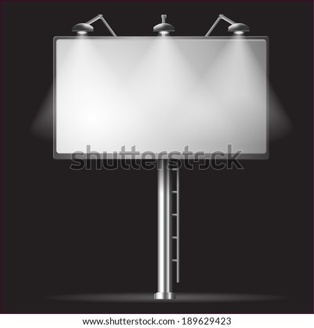 Billboard template night vector illustrayion background with spotlight - stock vector