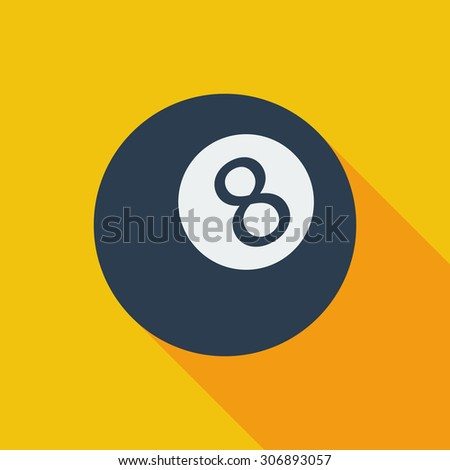 Billiard ball icon. Flat vector related icon with long shadow for web and mobile applications. It can be used as - logo, pictogram, icon, infographic element. Vector Illustration. - stock vector