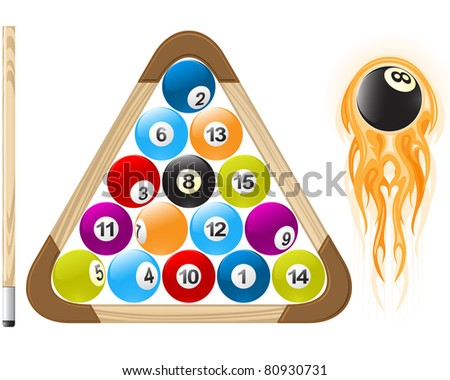 Billiard ball in flame and pool balls in rack - stock vector