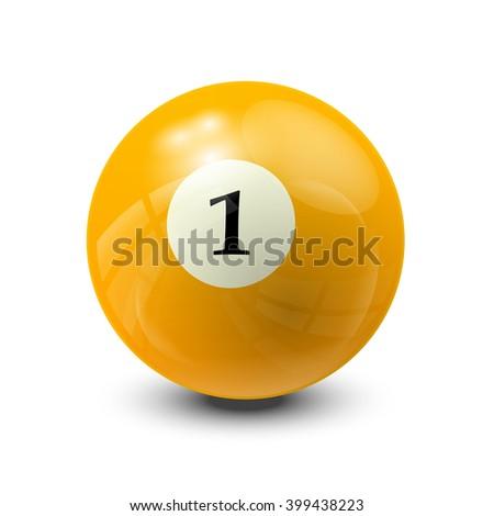 billiard ball 1- realistic vector design - stock vector