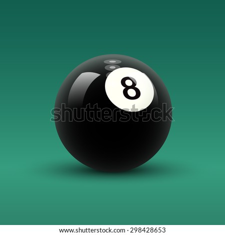 Billiard ball vector. Isolated solid color black billiard ball with number 8 on green table background. - stock vector