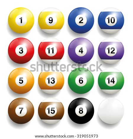 Billiard balls - commonly used colors. Three-dimensional and realistic looking, isolated vector illustration on white background. - stock vector