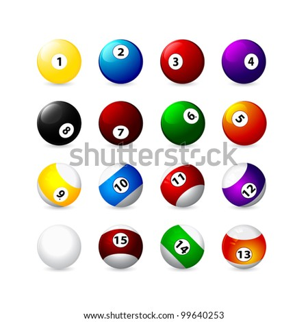 billiard balls with a displaced center icons - stock vector