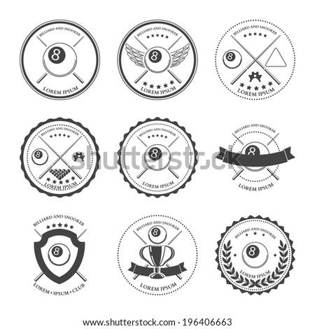 Billiard design elements and badges set. Vector - stock vector