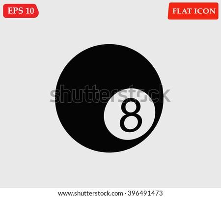 Billiard eight ball icon isolated with shadow.Pool ball.Vector illustration - stock vector