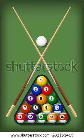billiard elements set vector cartoon illustrations - stock vector