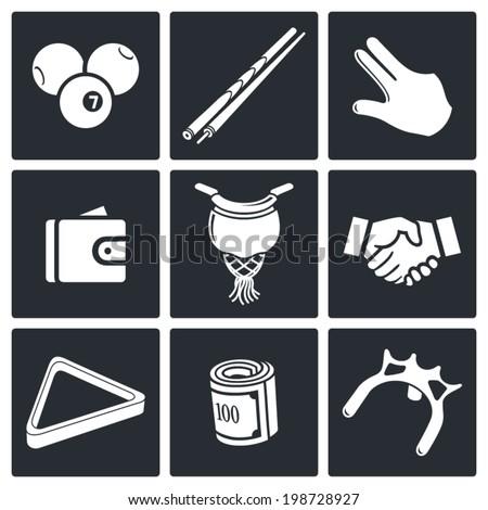 Billiard icons set  - stock vector