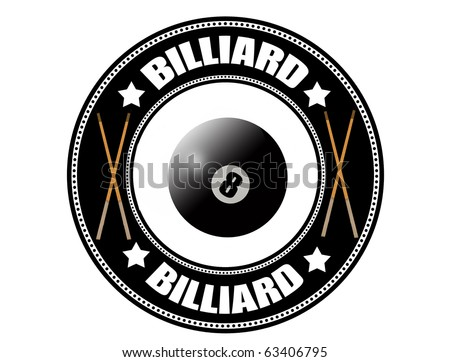 Billiard label with pool ball eight and cue, vector illustration - stock vector