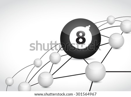 billiard link sphere network connection concept illustration design graphic background - stock vector