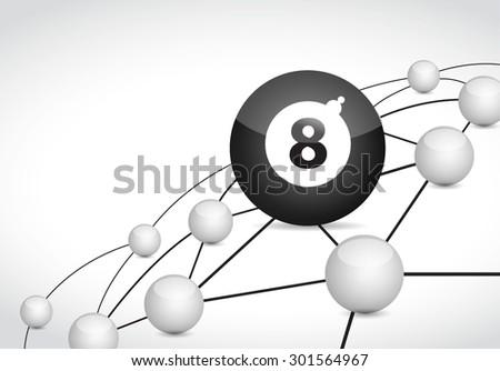billiard link sphere network connection concept illustration design graphic background - stock vector