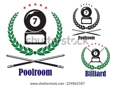 Billiard or pool badges or emblems showing the number 7 ball in a wreath with crossed cues and text Poolroom or Billiard, vector illustration on white - stock vector