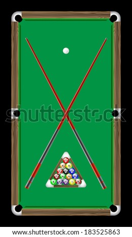 Billiard table with balls black - stock vector
